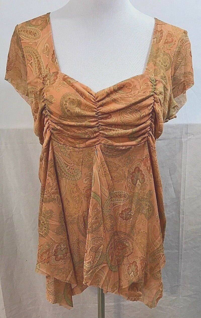 Women's Orange Paisley Empire Waist Maternity Top by Duo Maternity (03589)