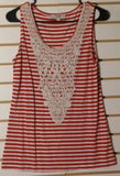 Women's Red & White Striped Crocheted Embellished Top Size M by Haani (01489)