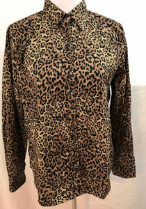 Women's Tan Animal Print Button Down Shirt Size XL by Chaps (03545)