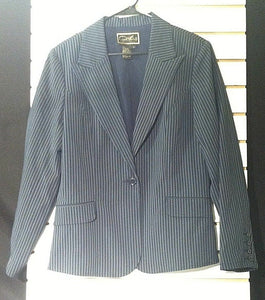 Women's Blue Pin-Striped Blazer Size M by Diane Emma (00866)