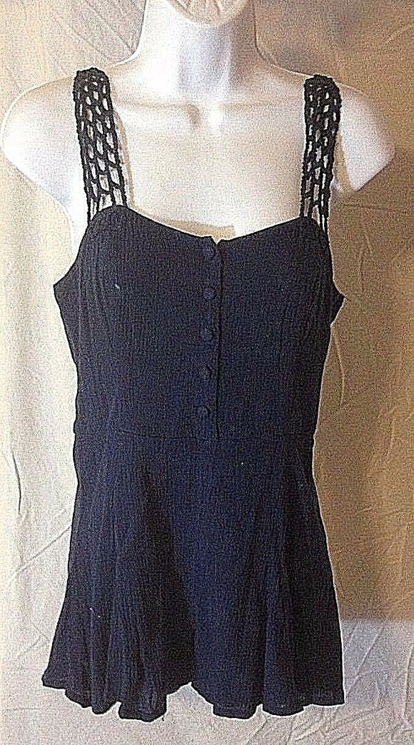 Women's Blue Short Romper w/Crocheted Straps by Peter Jensen (02474)