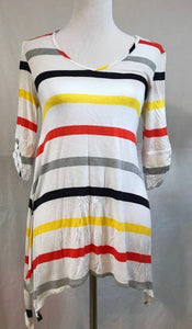 Women's White Multi-Color Striped Tunic Top Size S by Cha Cha Vente (03321)