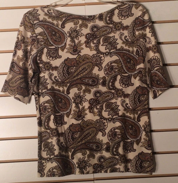 Women's Boat Neck Multi-Color  Paisley Knit Top Size S by Charter Club (01653)