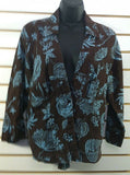 Women's 2-Piece Brown & Blue Flowered Shirt & Skirt (00236)