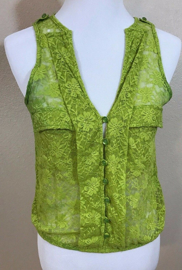 Women's Green Sheer Lace Top Size M by Wet Seal (02968)