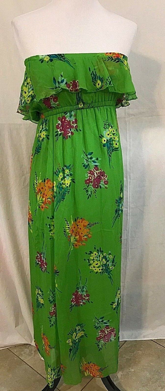 Women's Green Floral Strapless Long Dress Size S by Old Navy (03264)