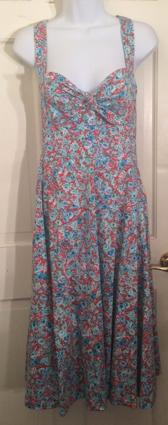 Women's Multi-Color Floral Empire Waist Dress Size 4 by London Times (01756)