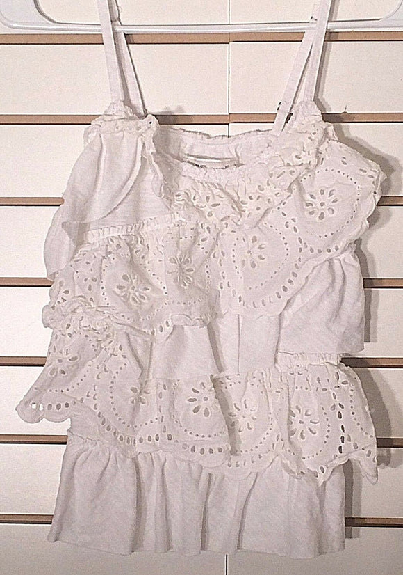 Women's White Ruffled Tank Top Size XS by Abercrombie & Fitch (02307)