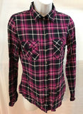 Women's Black & Pink Plaid Button Down Shirt Size S by I Love H81 (03519)