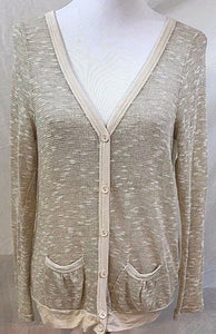 Women's Tan & Cream Sparkly Sweater Size M by ISSI (03083)