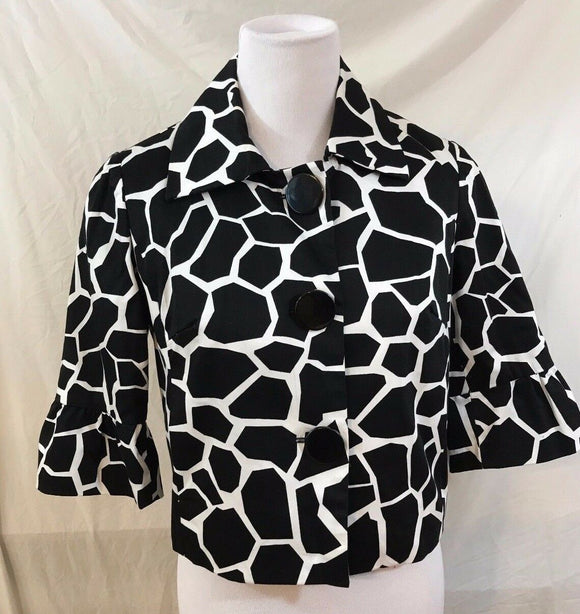 Women's Black & White Animal Print Crop Blazer Size S by Sandro (03101)