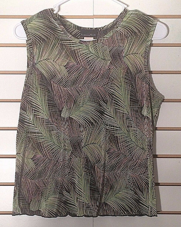Women's Green & Black Textured Top Size M by Brittany Black (02110)