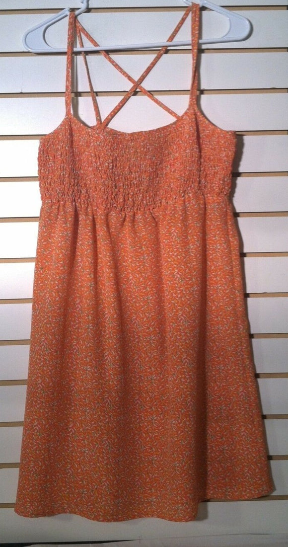 Juniors Orange Floral Dress Size 13 by Jonathan Martin (01138)