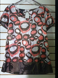 Women's Pink & Brown Swirl Blouse Size L by Apostrophe' (00720)