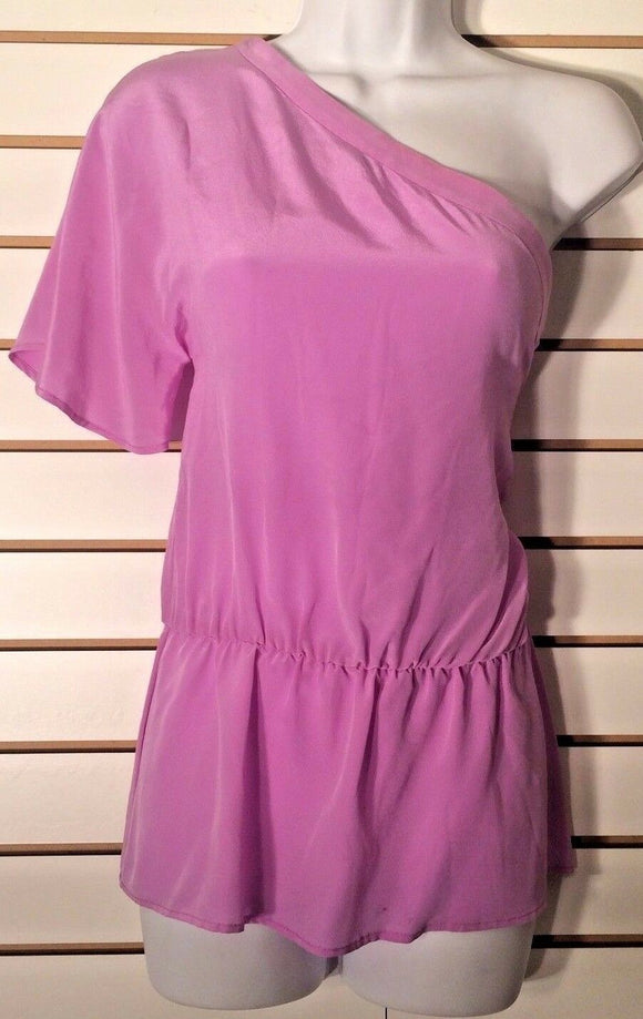 Women's Silk Lavender One-Shoulder Top Size S by Aaron Ashe (02047)