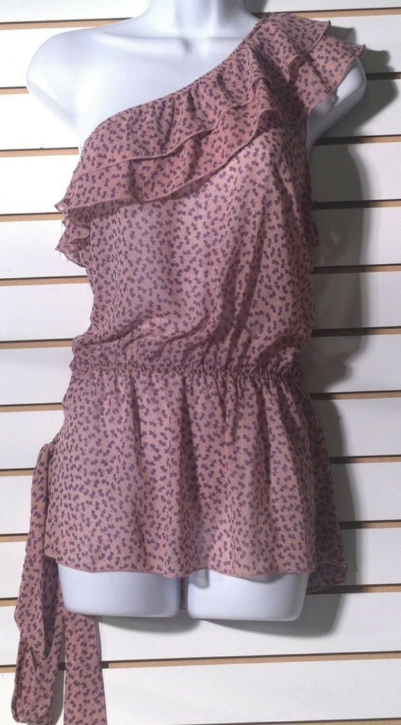 Women's Pink Sheer Off The Shoulder Blouse Size S by U & Me (01186)