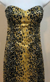 Women's Black & Gold Strapless Animal Print Dress Size 4 by GUESS (04023)