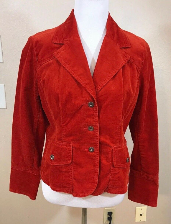 Women's Petite Orange Corduroy Stretch Blazer Size PL/G by Tommy Hilfiger (02992)