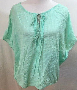 Women's Green Striped Peasant Top Size S by Ann Taylor LOFT (03510)