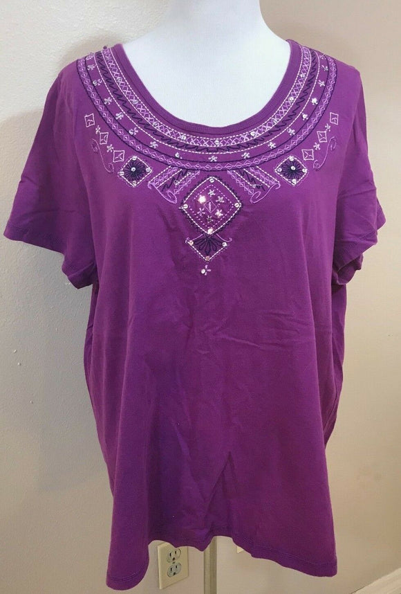 Women's Plus Size Purple Embellished Top Size 1X by Essentials (03693)