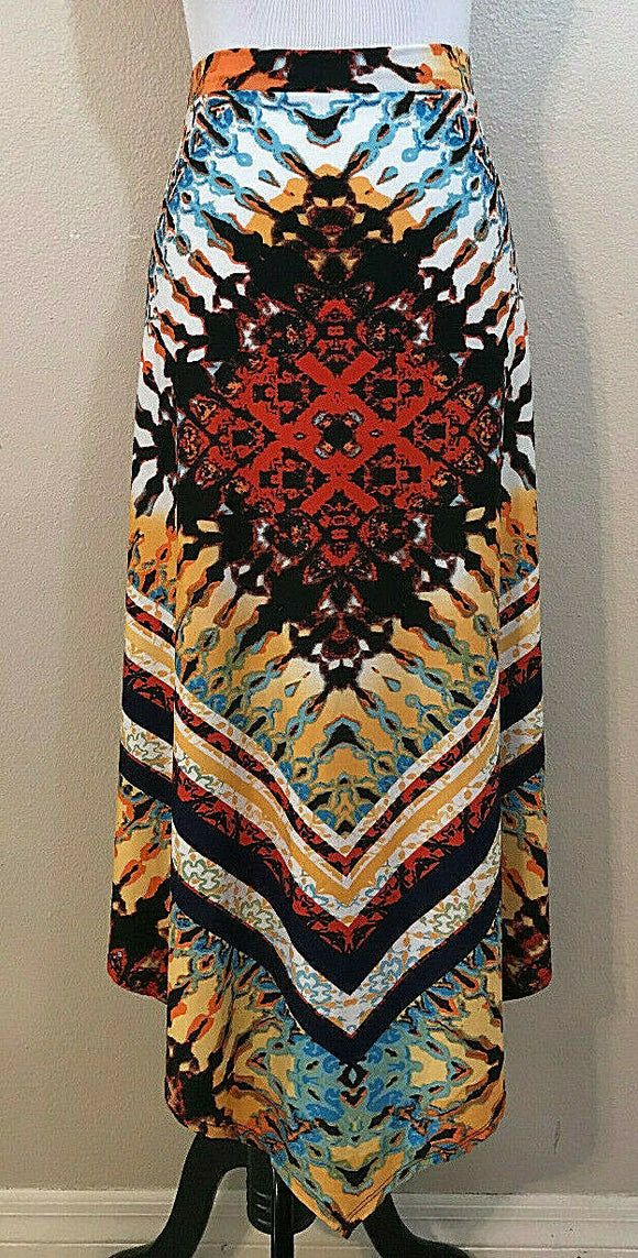 Women's Multicolor Asymmetrical Aztec Design Skirt Size XL by My Collection  (04372)