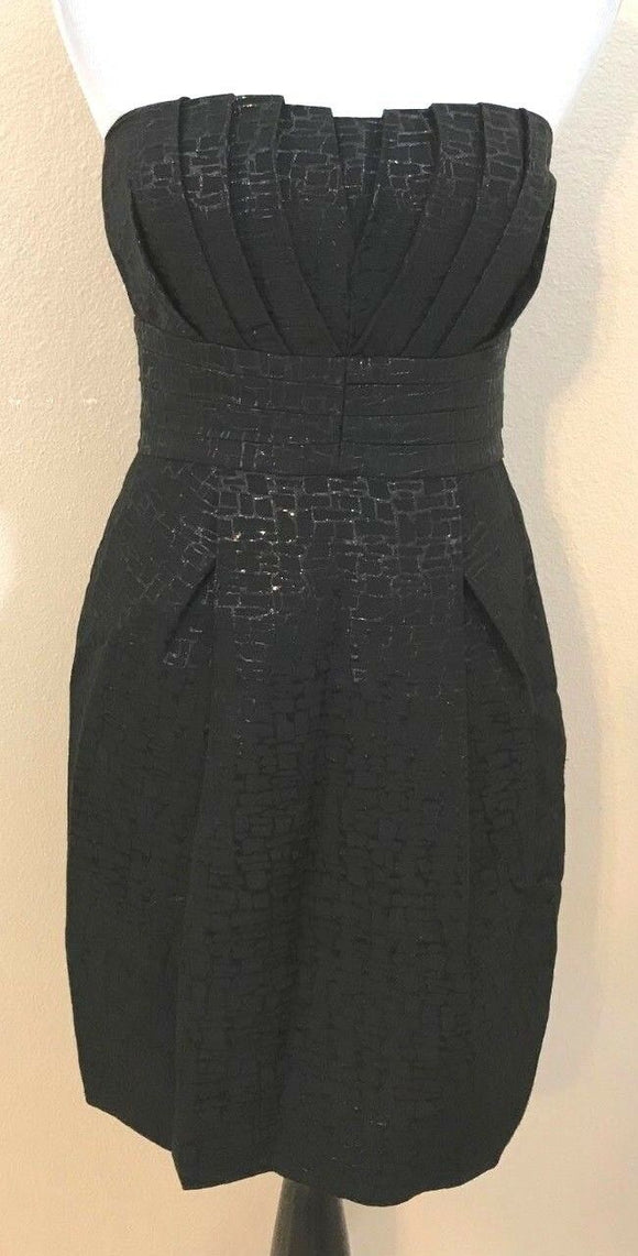 Women's Black Sleeveless Pleated Top w/Texture Dress Size 6 by Max & Cleo (03944)