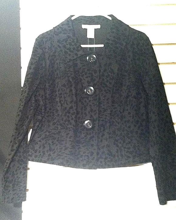 Women's Black Velvet Embellishment Blazer Size L by Bamboo Traders (00868)