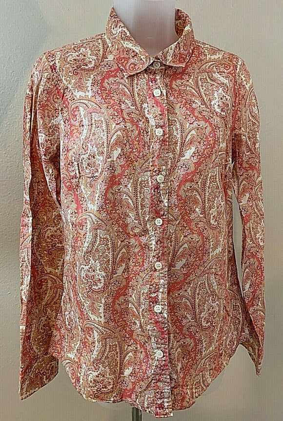 Women's Pink Paisley Button Down Shirt Size S by J. Crew (04428)