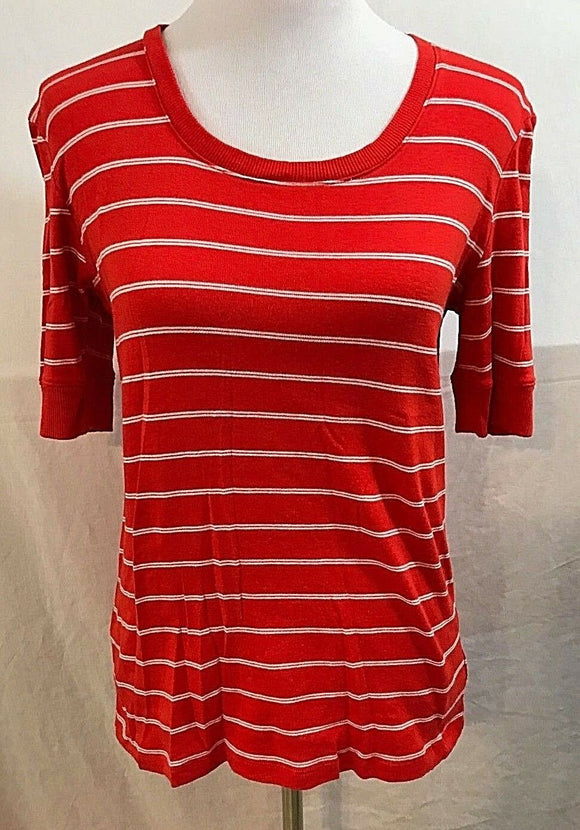 Women's Orange & White Striped Knit Top Size M by Jones New York (03571)