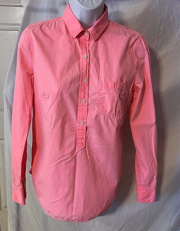 Women's Bright Pink Pull Over Button Front Shirt Size 2 by J. CREW (02790)