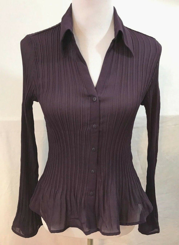 Women's Plum Accordian Button Down Shirt Size M by Worthington (03529)