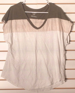 Women's V-Neck Green, Tan & White Cotton Tee Shirt Size L by Old Navy (01771)