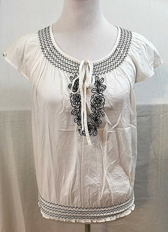 Women's White & Black Peasant Top Size M by Ann Taylor LOFT (03607)
