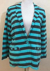 Women's Aqua & Brown Striped Blazer Size XL by Caslon (03908)