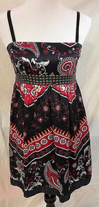 Women's Silk Black, Brown & Red Decorative Dress by Buffalo David Bitton (03046)