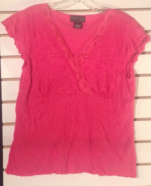 Women's Petite Hot Pink Knit Top Size M by Style & Co. Petites (01043)
