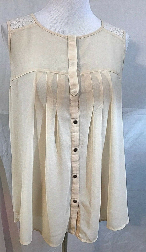 Women's Beige Sheer Lace Embellished Blouse Size M (03355)