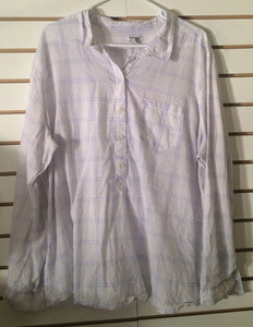 Women's White & Blue Plaid Shirt Size XXL by Old Navy (01794)