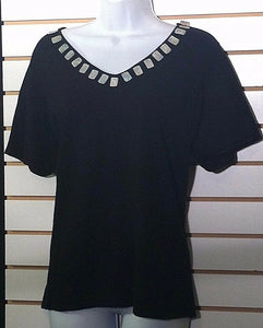 Women's Plus Size Black Knit Top Size 1X by Bay Studio Plus (00374)