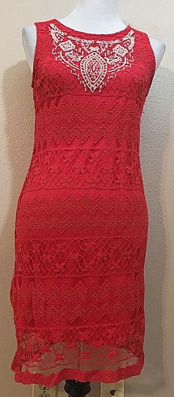 Women's Bright Hot Pink Lace Embroidered Dress Size S by Xhilaration (03894)