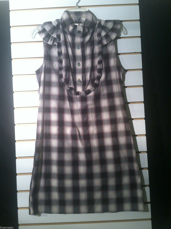 Women's Cotton Black & Gray Checked Dress (01210)