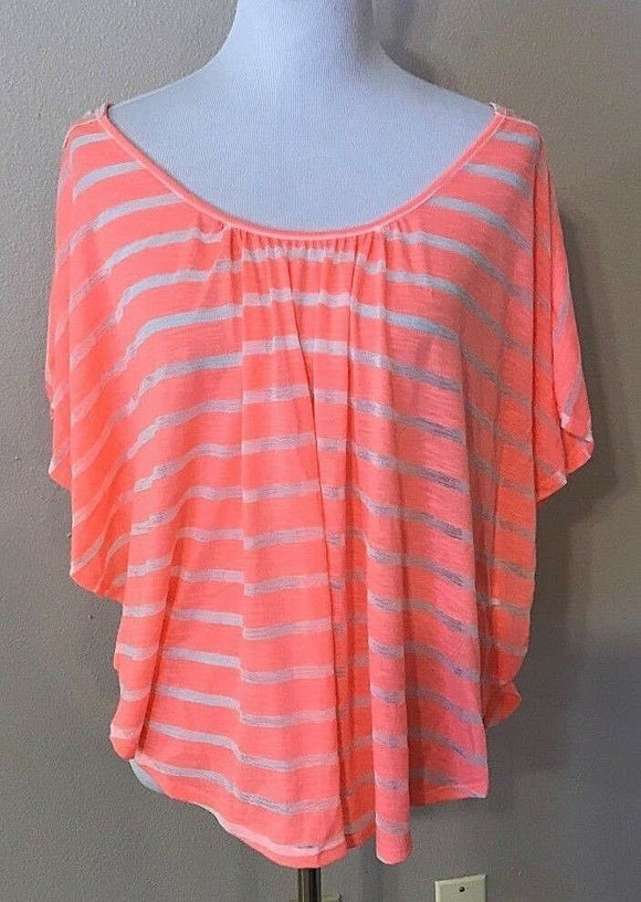 Junior's Peach & White Striped Laced Back Top by No Boundries (03597)