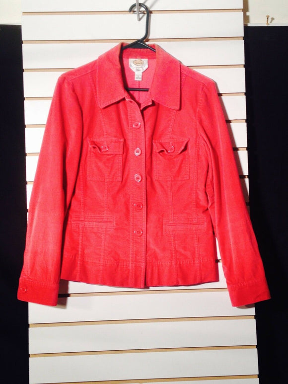Women's Red Velour Jacket Size 6 by Talbots (01091)