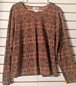 Women's Brown & Rust Top Size L by City Hearts (01955)