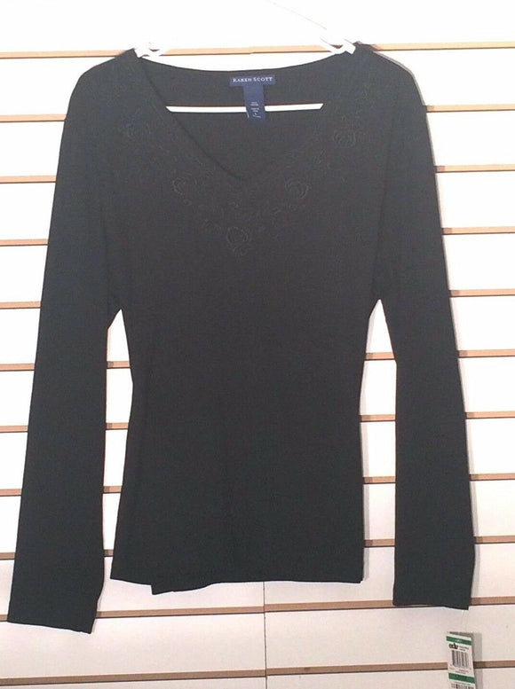 Women's New Black Cotton Top Size L by Karen Scott (02180)