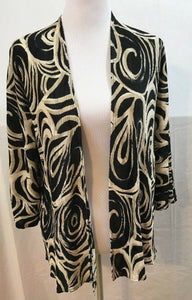 Women's Black & Tan Swirl Design Open Blazer Size 0 by Chico's (03587)
