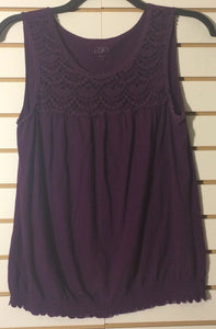 Women's Purple Cotton Top Size M by Ann Taylor LOFT (01470)