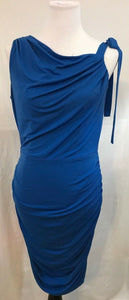 Women's Blue One Shoulder w/Tie Side Ruching Dress Size 10 by Jessica Simpson (03366)