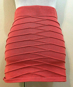 Women's Salmon Knit Criss-Cross Striped Knit Skirt Size M by Poof (04277)