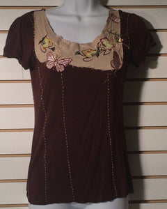 Women's Brown Embellished Top Size M by Twenty One (01384)